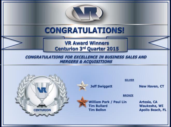 VR Centurion Award Q3 2015